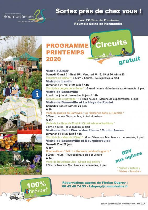 Visites tourisme roumois seine en normandie printemps 2020